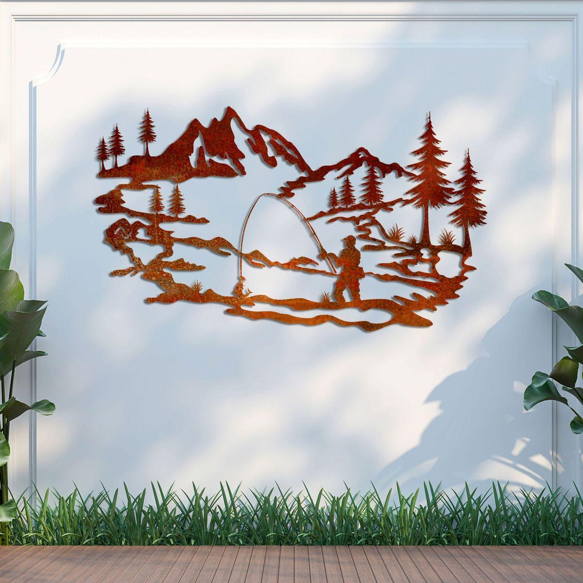 Fishing-metal-garden-art-fence-wall